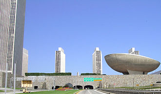 Empire State Plaza - View of the plaza from the South Mall Expressway below