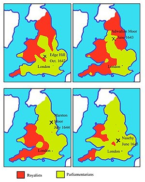 Maps of territory held by Royalists (red) and Parliamentarians (green), 1642-1645 English civil war map 1642 to 1645.JPG