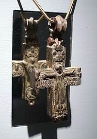 Enkolpion with crucifix, Eastern Mediterranean, perhaps Syria, Middle Byzantine, 9th-10th century AD, bronze - Middlebury College Museum of Art - Middlebury, VT - DSC08072.jpg