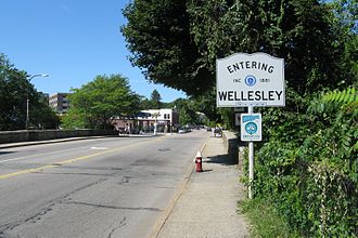 Massachusetts Route 16 - Westbound entering Wellesley