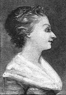 A middle aged woman, painted in profile. Her hair has some grey around the face and is swept back; she is wearing a white fichu over her dress.