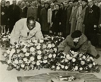 Eugene Bullard - Bullard at the Tomb of the Unknown Soldier in Paris, 1954.