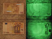 50 Euro Schein als Vergleich: IR (Nachtsichtgerät) und Normal