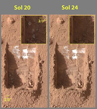 Mars Scout Program - Phoenix dug these troughs on Mars, from which it is believed ice evaporated, as shown in this comparison