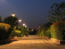 Example of night photography at The Garden of Five Senses, New Delhi.JPG