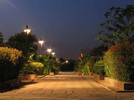 A well-lit path in Dehli's Garden of Five Senses Example of night photography at The Garden of Five Senses, New Delhi.JPG