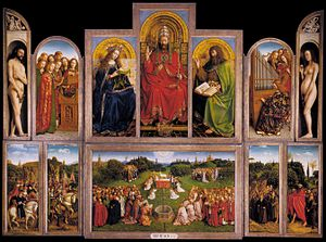 "Northern Renaissance - The Ghent Altarpiece (interior view) by Hubert and Jan van Eyck, painted 1432. Saint Bavo Cathedral, Ghent, Belgium. Early Netherlandish painting often included complicated iconography, and art historians have debated the ""hidden symbolism"" of works by artists like Hubert and Jan van Eyck."