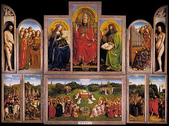 Renaissance art - The Ghent Altarpiece: The Adoration of the Mystic Lamb (interior view), painted 1432 by van Eyck