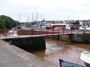 Eye Water - The Eye Water enters Eyemouth harbour, flowing down the channel on the left.