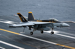 VFA-27 - VFA-27 F/A-18E lands on USS Kitty Hawk in 2006