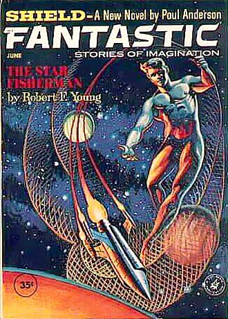 """Robert F. Young - Young's novelette """"The Star Fisherman"""" took the cover of the June 1962 issue of Fantastic"""