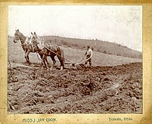 Farmer plowing with two horses, 1890s