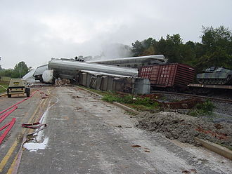 Derailment - A derailed freight train in Farragut, Tennessee (2002)