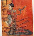 Female figure dressed in Tsa-chü-ch'ui-shao clothing. Lacquer painting over wood, Northern Wei.jpg