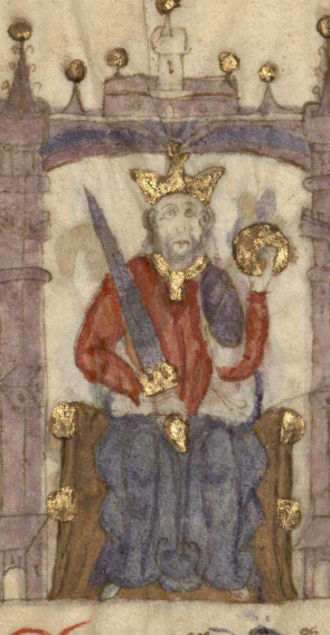 Ferdinand IV of Castile - Ferdinand IV in a miniature of the Compendio de crónicas de reyes, currently displayed in the Biblioteca Nacional de España.