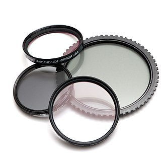 Photographic filter - Four photographic filters (clockwise from top-left): an infrared hot mirror filter, a polarizing filter, and a UV filter. The larger filter is a polarizer for Cokin-style filter mounts.