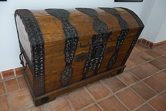Chest (furniture) - European chest with metal band and locking mechanism.