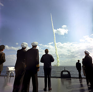USS Andrew Jackson (SSBN-619) - J.F.K. watching Andrew Jackson launch a Polaris A-2 missile.