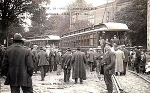 Detroit United Railway - First interurban cars on the Detroit, Almont and Northern Railroad, Almont, Michigan, July 1, 1914.
