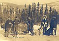 Five men and dogsled team hauling supplies to camp, Yukon Territory, ca 1899 (MEED 159).jpg