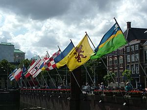 Provinces of the Netherlands - Flags of the provinces near the Hofvijver in The Hague