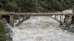 Flood under the Old Route 49 bridge crossing over the South Yuba River in Nevada City, California.jpg