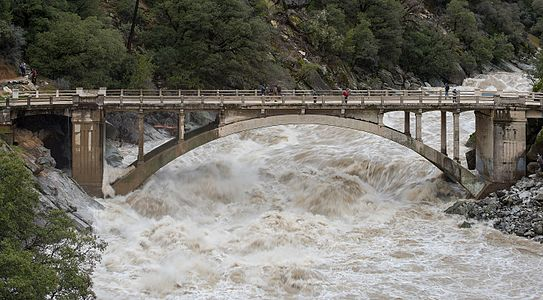 Flood under the Old Route 49 bridge crossing over the South Yuba River in Nevada City, California.