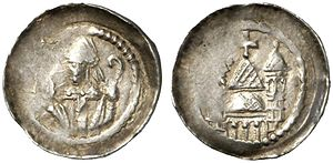 Folmar of Karden - Silver denier of the Archbishop of Trier, issued ca. 1186-1189 by the cathedral chapter. Obverse shows the mitered archbishop with a crosier; reverse shows two towers and a roofed apse surmounted by a cross, probably representing the cathedral. (This coin is identified as representing either Rudolf of Wied or Folmar of Karden, more likely the former.)