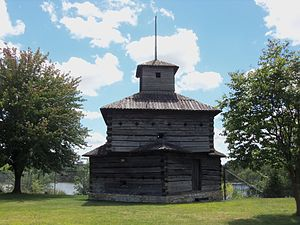 Fort Armstrong, Illinois - The historical reconstruction of a Fort Armstrong, three story, blockhouse, on the U.S. Army's, Rock Island Arsenal Island