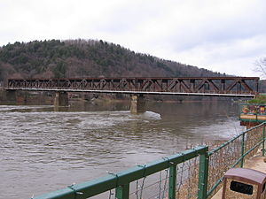 Northern Subdivision (Pennsylvania) - The old Foxburg Bridge carried trains on the Northern Subdivision over the Allegheny River from 1921 to 1964.  The bridge was demolished in 2008.