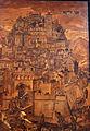 Fra Damiano da Bergamo, dossale del presbiterio di s. domenico, 1528-38, 03 lapidazione di s. stefano, veduta di bergamo.JPG