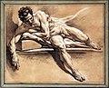 François boucher, studio accadmeico di un nudo virile disteso, 1750 ca.jpg