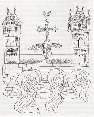 "Alte Brücke (Frankfurt) - The oldest depiction of the Alte Brücke, from the ""Bedebuch"" of 1405"