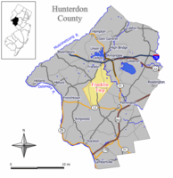Map of Franklin Township in Hunterdon County. Inset; Location of Hunterdon County highlighted in the State of New Jersey.