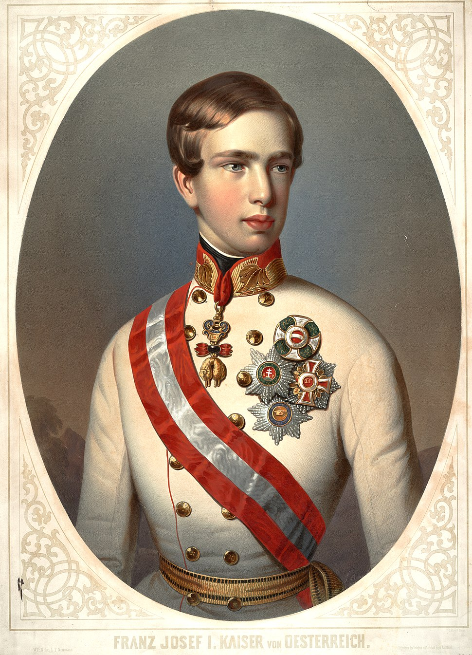 Franz Joseph I of Austria Bauer color lithograph by and after Bauer, dated 1848 by artist; oval bust portrait in uniform and orders