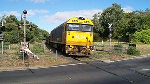 Stony Point railway line - Goods train, Hillcrest Road level crossing, Frankston