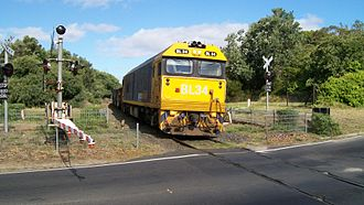 Stony Point railway line - Goods train, Hillcrest Road level crossing, Frankston