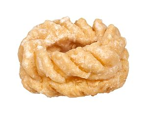 "Cruller - A round ""French cruller"" may be made with a patented extruding nozzle"