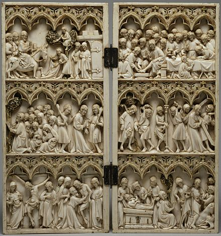 French Gothic diptych, 25 cm (9.8 in) high, with crowded scenes from the Life of Christ, c. 1350-1365 French - Diptych with Scenes from the Passion of Christ - Walters 71179 - Open.jpg