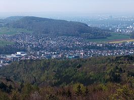 A view over Frenkendorf from lookout at the top of Schleifenberg, Liestal