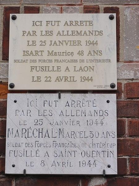 Fresnoy-le-Grand (Aisne) plaques commémoratives, 1944, gare