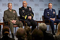 From left, the 35th Commandant of the Marine Corps, Gen. James F. Amos; Army Chief of Staff Gen. Raymond T. Odierno, and Air Force Chief of Staff Gen. Mark A. Welsh III, participate in the Joint Chiefs' address 130508-M-LU710-123.jpg