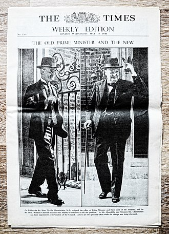 "Frontpage weekly magazine ""The Times"" May 15 1940, With headline: ""The Old prime minister and the new"". Frontpage weekly magazine ""The Times"" May 15 1940, With headline ""The Old prime minister and the new"".jpg"
