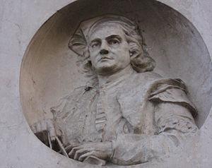 Giovan Battista Caniana - Marble relief of Giovan Battista Caniana, outside the Basilica of San Martino, Alzano Lombardo