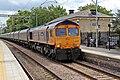 "GBRf Class 66, 66729 ""Derby County"", Huyton railway station (geograph 4512009).jpg"