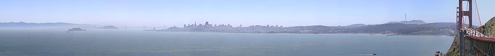 Panorama of San Francisco Bay, and the city skyline seen from Marin County in the Golden Gate National Recreation Area.
