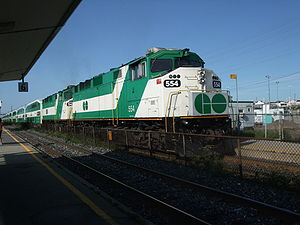 EMD F59PH - Two F59PH locomotives owned by GO Transit at Oakville station. GO has since discontinued the majority of these locomotives but a handful remain in regular service. Several ex-GO units are now operated by other services.