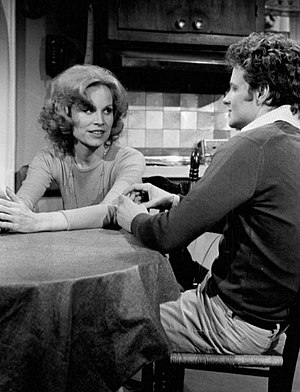 William Russ - Russ as Burt McGowan with Gail Brown on Another World, 1977.