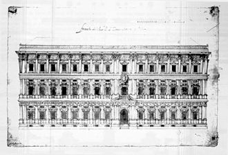"""Palazzo Marino - The original design of the facade of the Palace facing Piazza San Fedele (illustration found in the """"Raccolta Bianconi"""", a collection of tables in the Biblioteca Trivulziana, vol.I, p. 25, A 4042)"""
