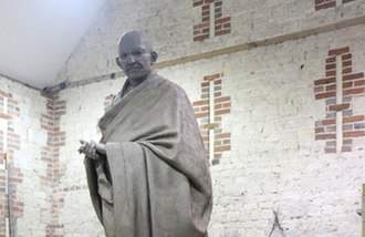 Statue of Mahatma Gandhi, Parliament Square - The statue in the workshop before it was installed in Parliament Square